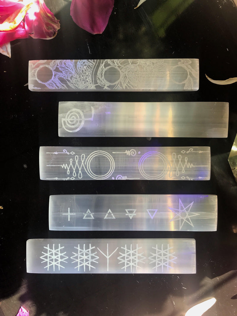 Selenite Crystal Charging Plate with Magick Inscriptions - Keven Craft Rituals
