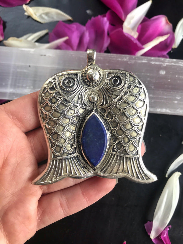 Antique Lapis Lazuli Double Fish Pendant - Afghan Turkman Jewelry