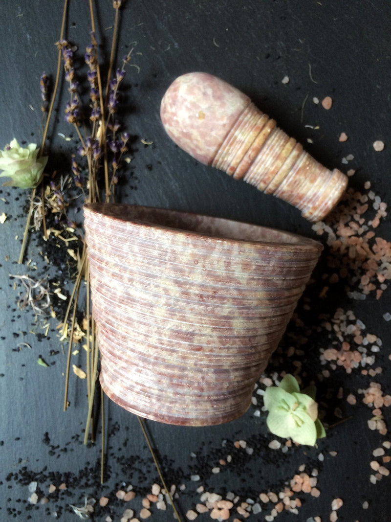 Pink/Grey/ or Natural Marbled Soapstone Mortar & Pestle - Keven Craft Rituals