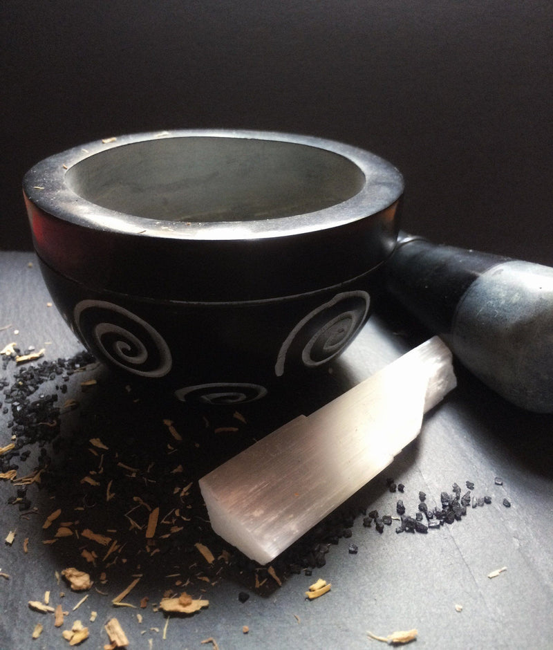 Engraved Stone Mortar & Pestle - Keven Craft Rituals