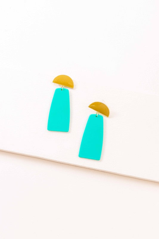 Groovy Geometric Drop Earrings (14K)