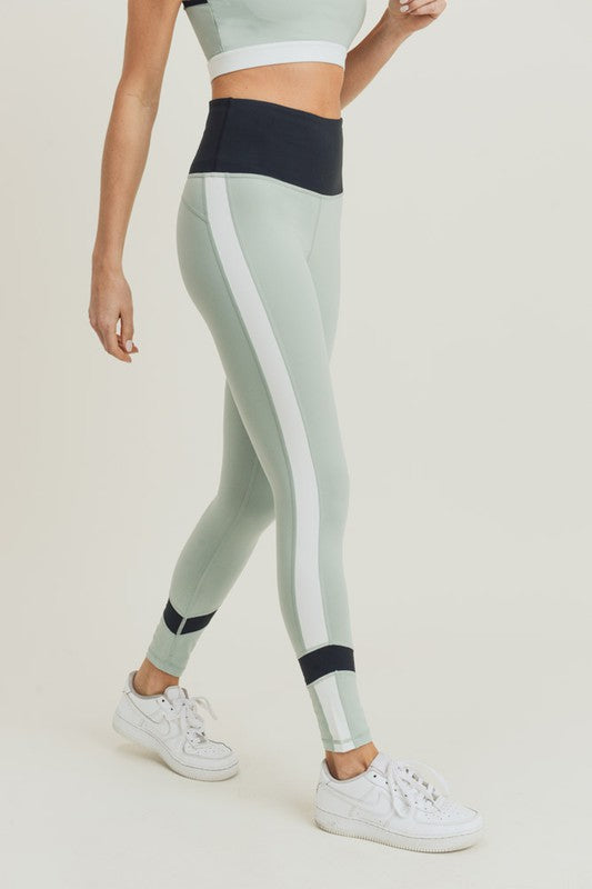 Tricolor Side Colorblock Highwaist Leggings