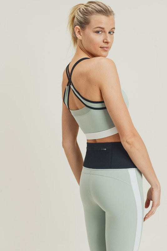 Tricolor X-Strap Colorblock Sports Bra