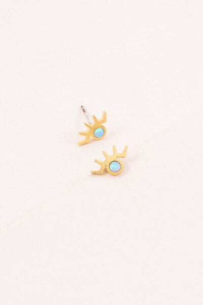 Pixum Golden Eye Stone Earrings | Blue