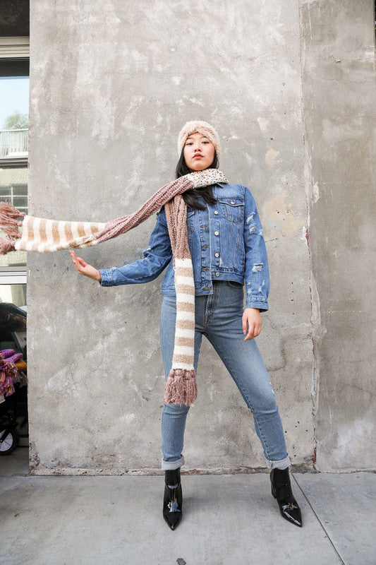 Rose Boho Speckle Stripe Tassel Scarf