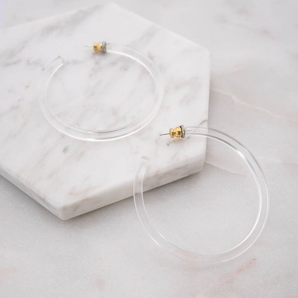 Mod + Jo - Florence Clear Acrylic Hoop Earrings