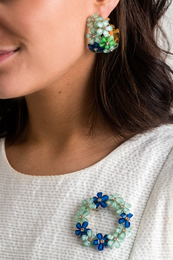 Christie Flower Hoop Earring
