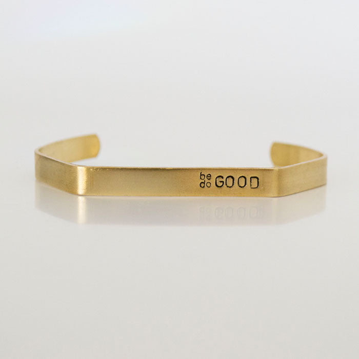 Grey Theory Mill - be GOOD do GOOD, brass hex cuff