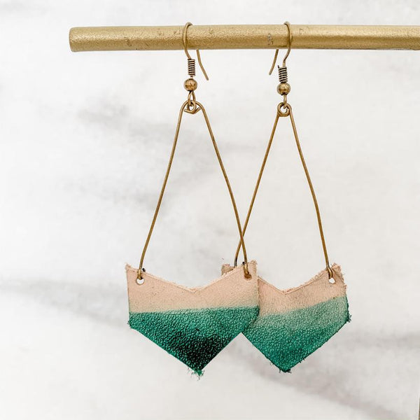 Dipped Leather Arrow Earring