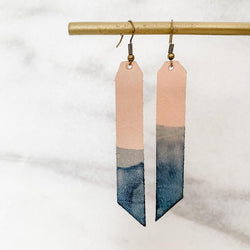 Dipped Leather Bar Earring