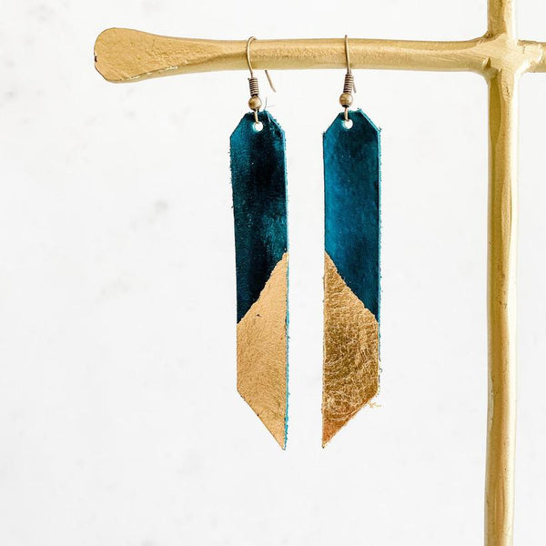 Leafed Bar Earring - Teal+Gold