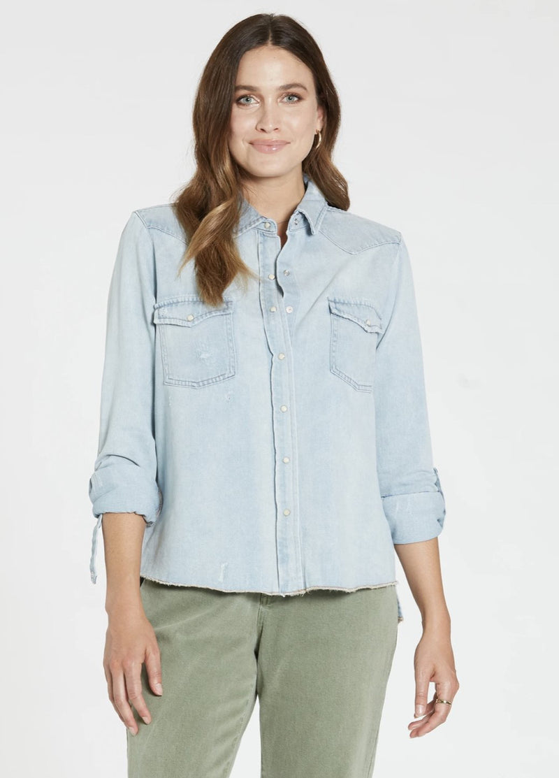 Casey Sea Blue Denim Top