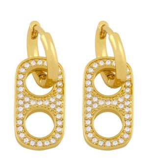 Cubic Zirconia Handcuff Drop Earring