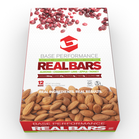 BASE REAL BARS - ALMOND-CRANBERRY-LIME-APPLE-HONEY</p> Buy 4 get 1 Free!