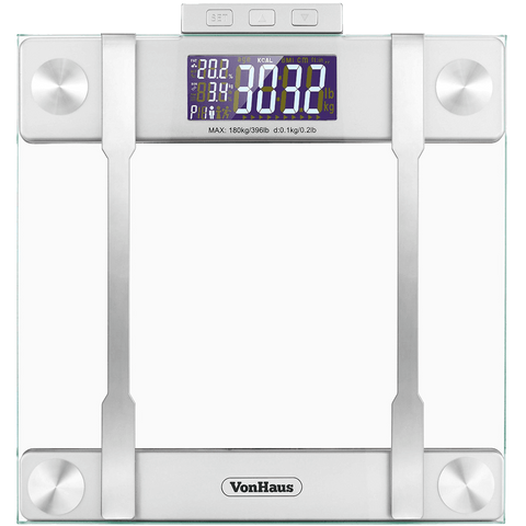 VonHaus Body Fat Scales 400lb Weight Capacity Hydration Monitor Composition Analyser Bathroom Scales