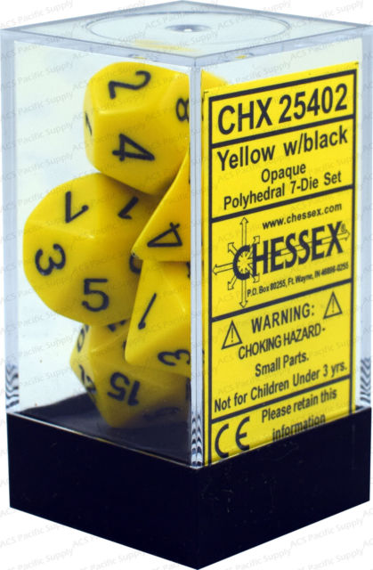 Chessex Opaque - Yellow/Black 7-Die Set