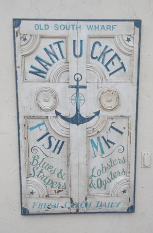 Nantucket Fish Market on antique door