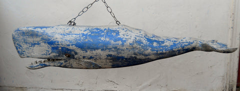4' Carved Whale- Blue