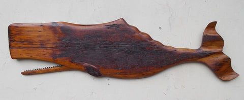 4' Antique Pine Carved Whale
