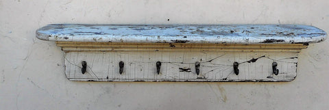 Antique white shelf with hooks