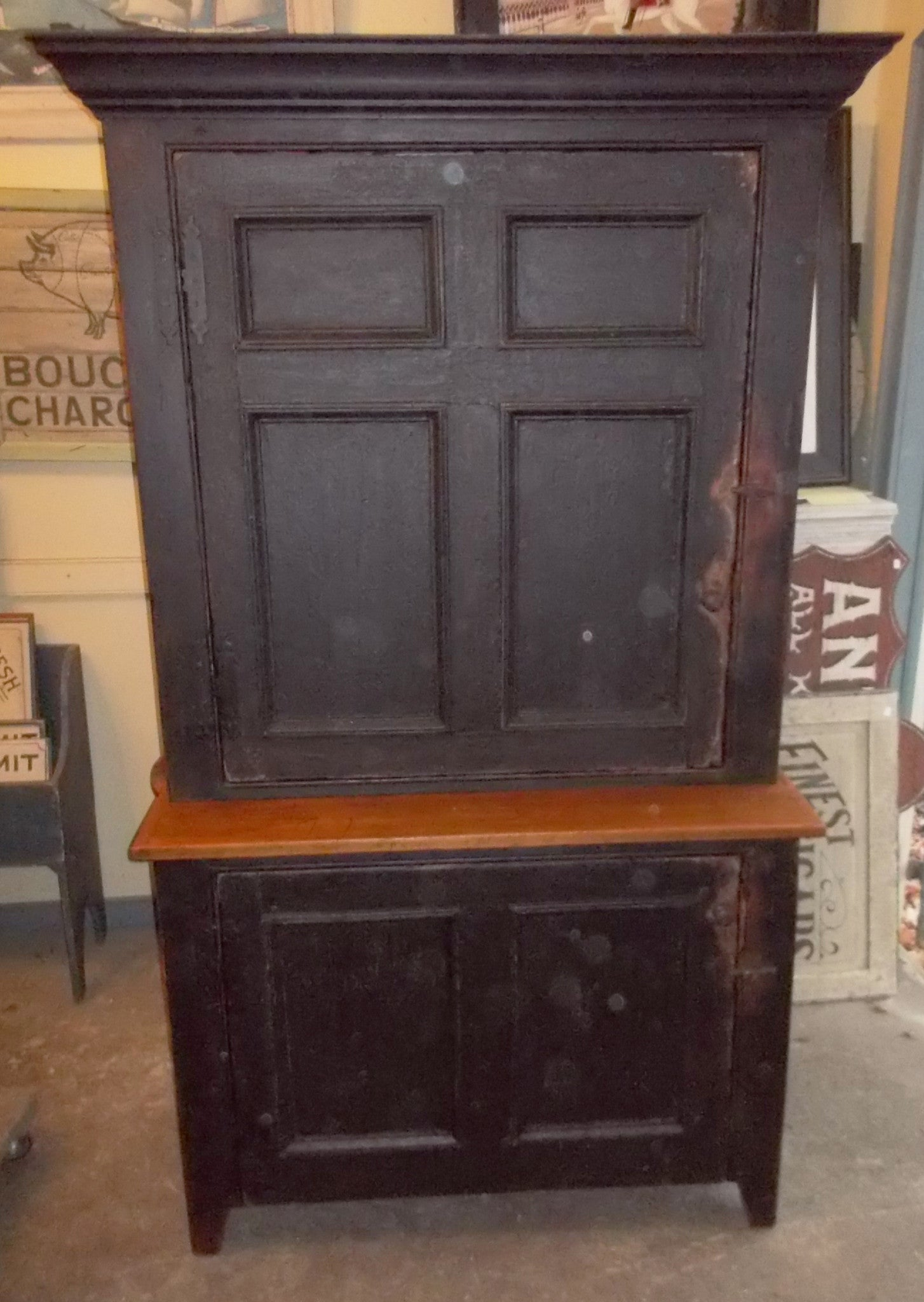 Black Stepback Cupboard with Antique