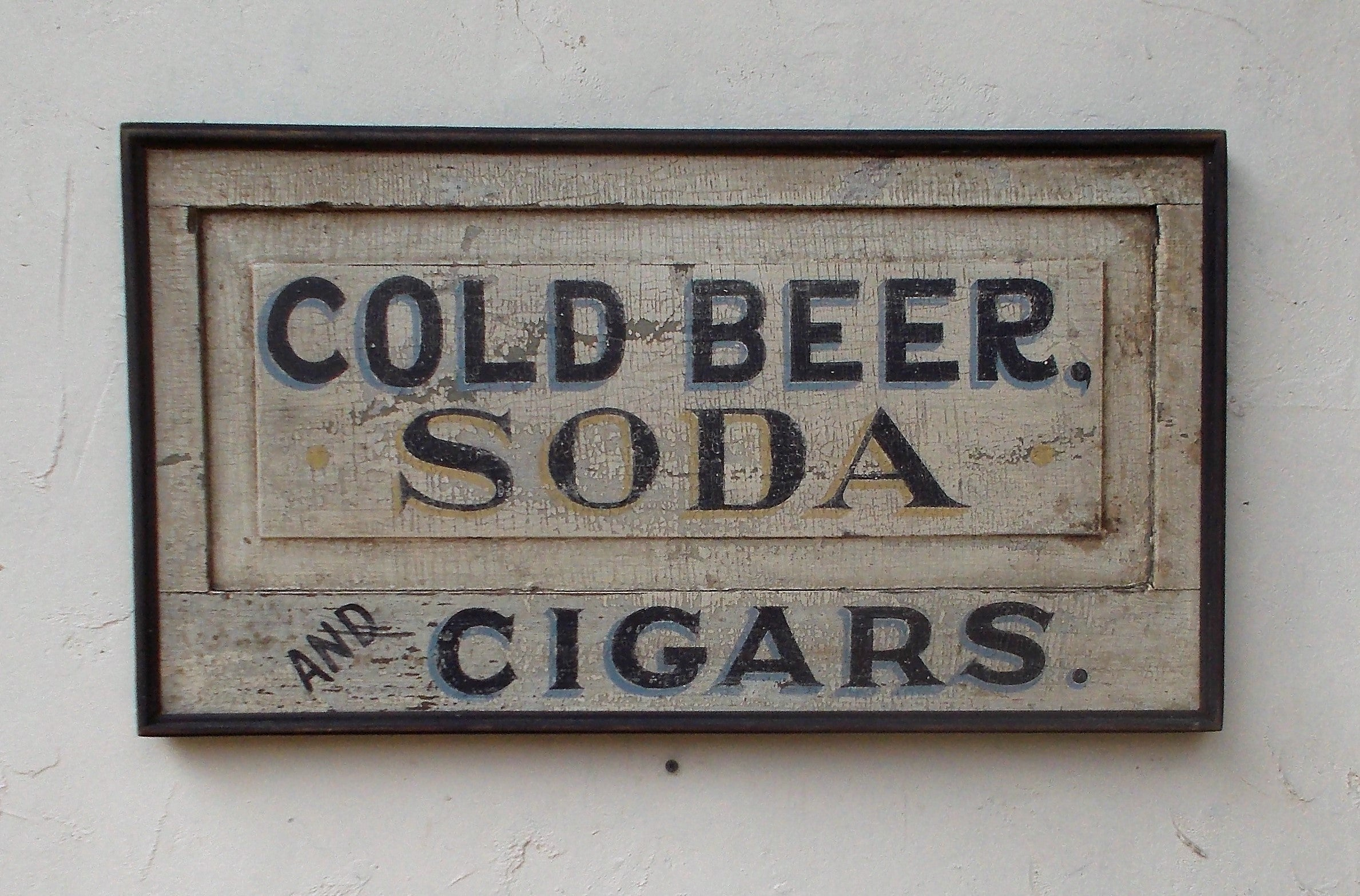 Cold Beer-Soda-Cigars sign