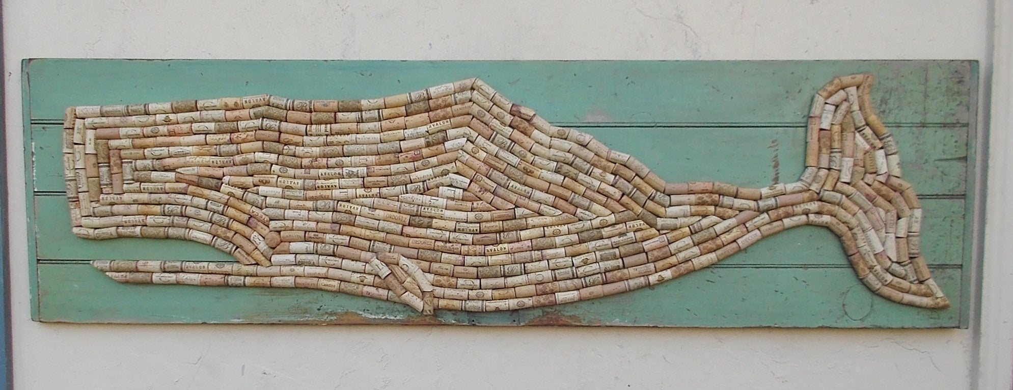 Cork Whale on Green Door