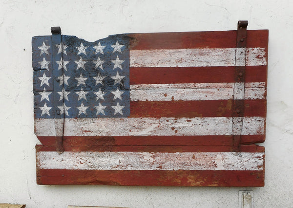American Flag on barn door