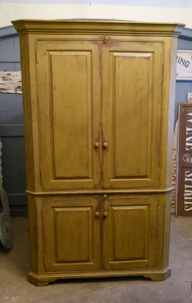Mustard Raised Panel Door Corner Cupboard
