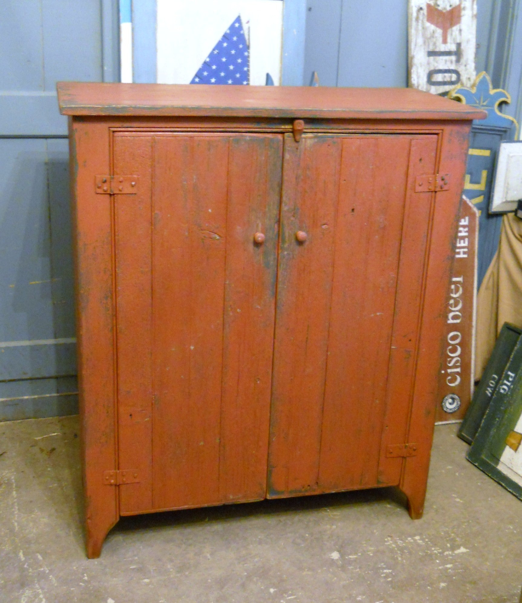 Primitive Red Jelly Cupboard