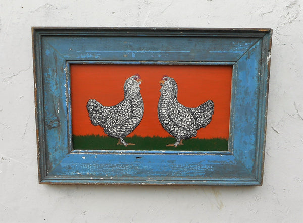 Two Hens painting