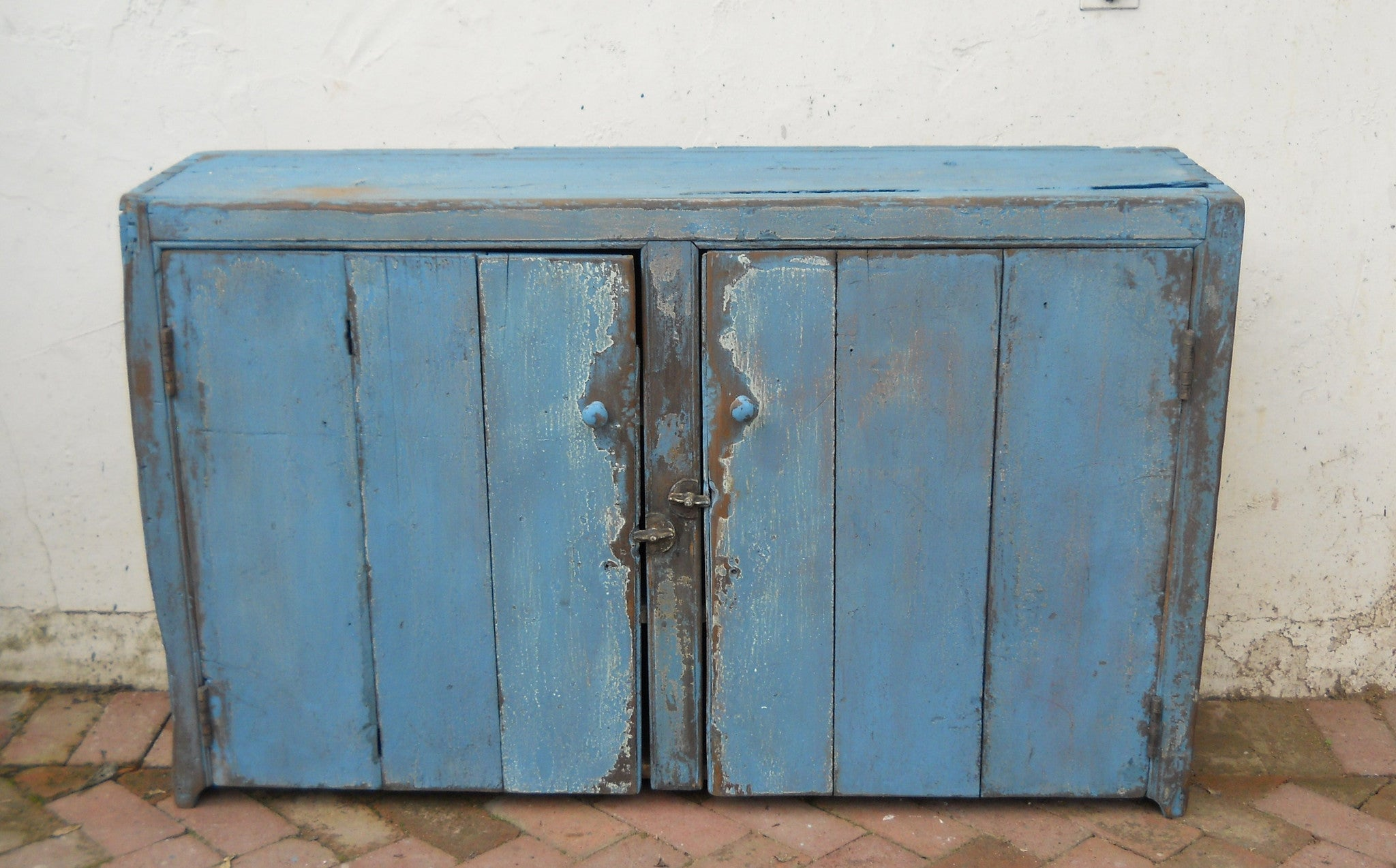 Two Door Primitive Cupboard in Blue
