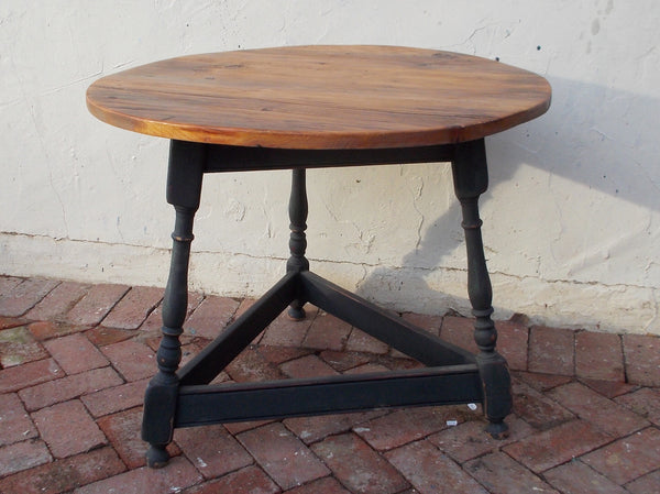 "3 legged Tavern Table with antique pine top 30"" round top x 24""H"