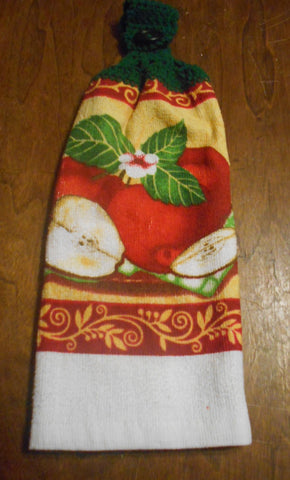 Apple Double Hanging Crocheted Top Kitchen Dish Towel