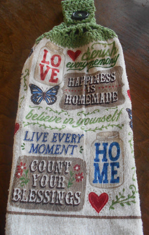 Country Home Double Hanging Crocheted Top Kitchen Dish Towel