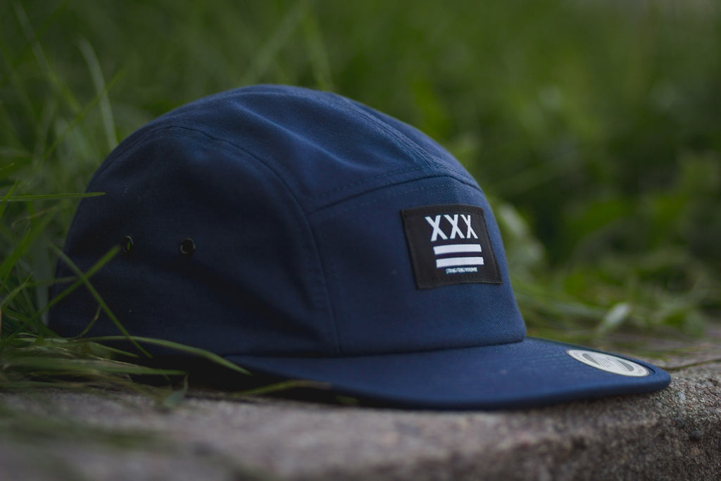 Straight Edge Flag 5-Panel Hat in Navy