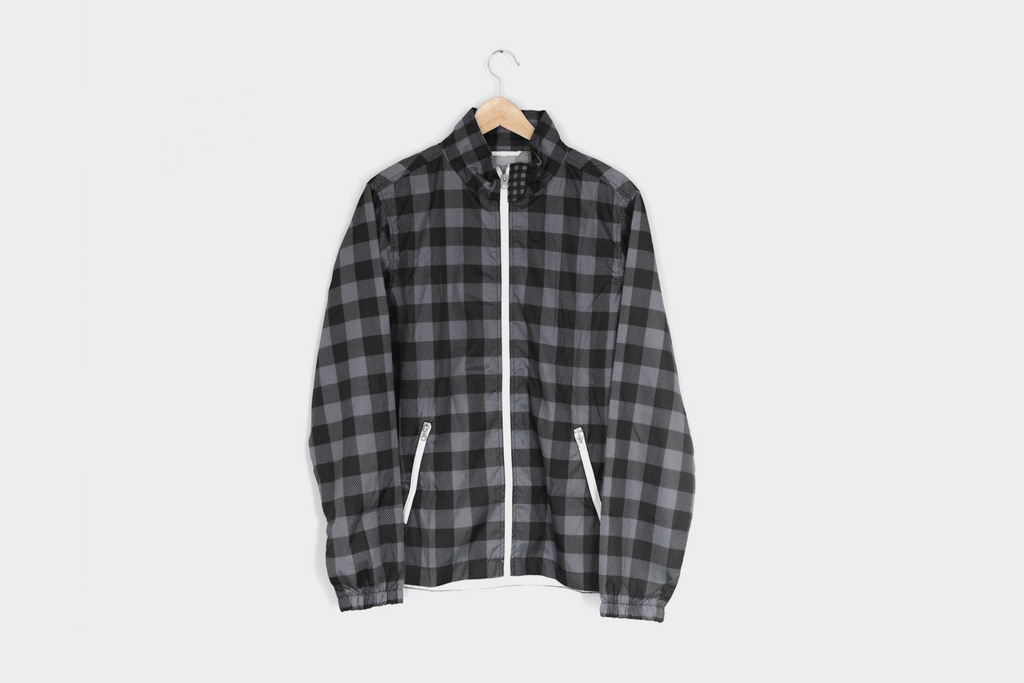 Backpatch Flannel Coaches Jacket in Gray