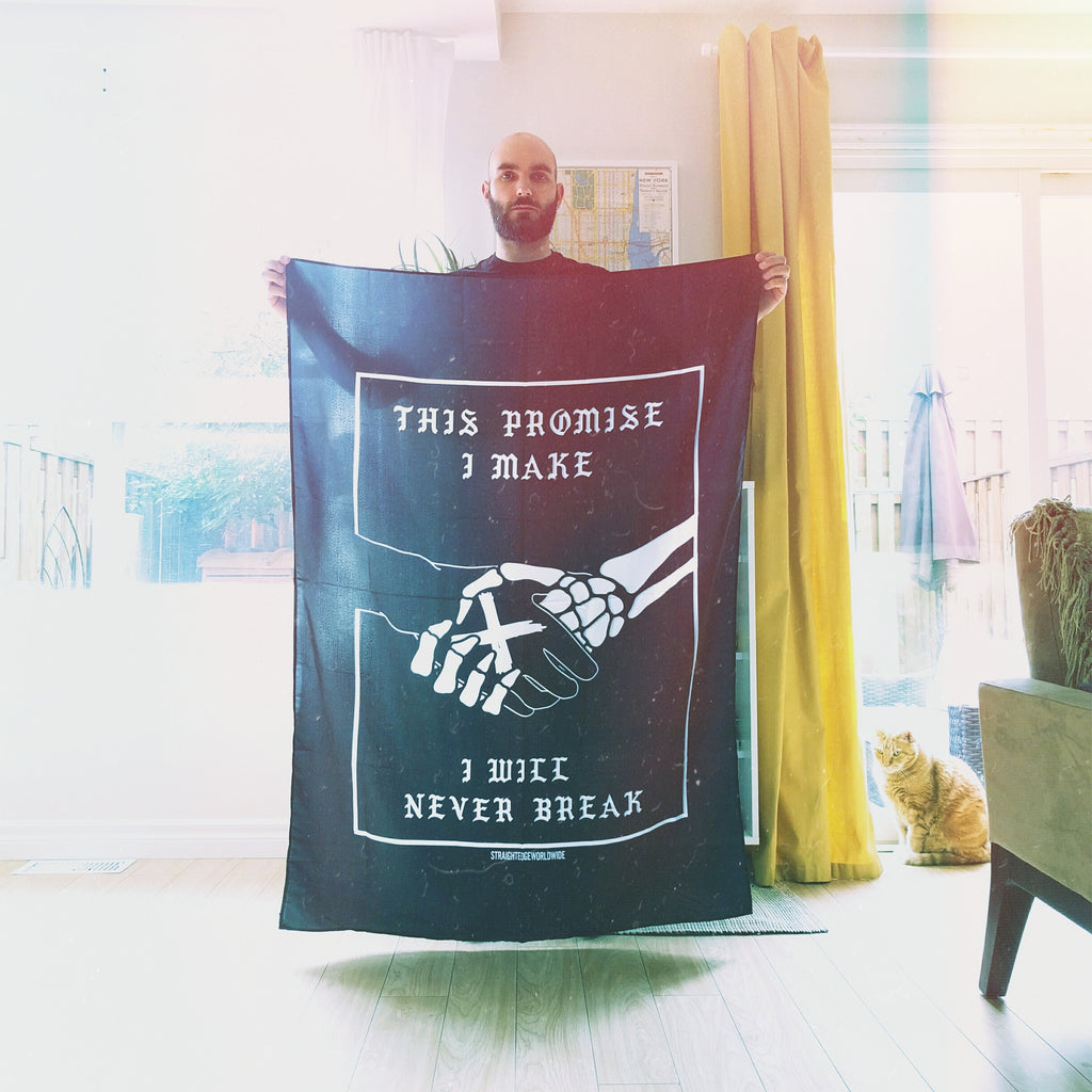This x Promise Straight Edge Flag Banner by STRAIGHTEDGEWORLDWIDE