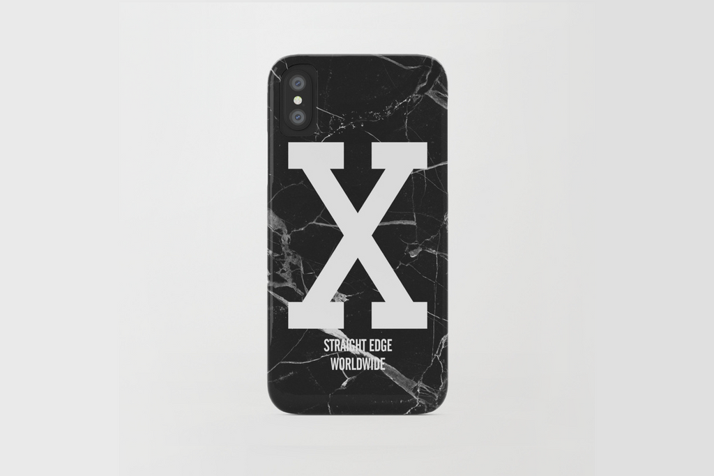 Black Marble Straight Edge iPhone X Phone Case by STRAIGHTEDGEWORLDWIDE