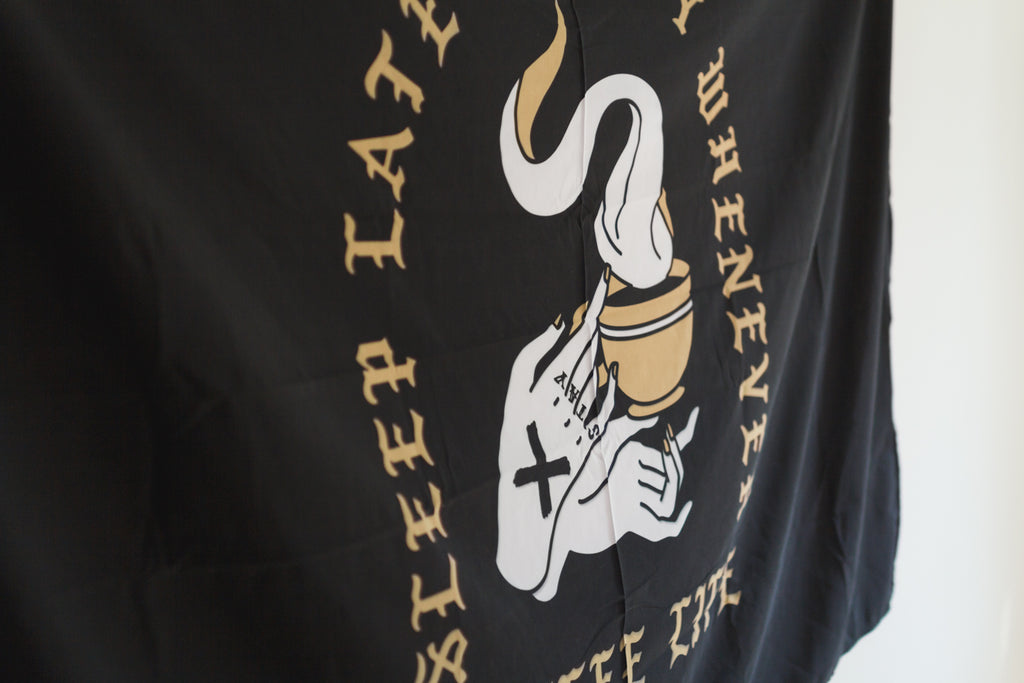 Coffee x Life black and gold print wall banner flag by STRAIGHTEDGEWORLDWIDE