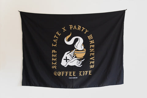 Coffee x Life black and gold print Straight Edge wall banner flag by STRAIGHTEDGEWORLDWIDE