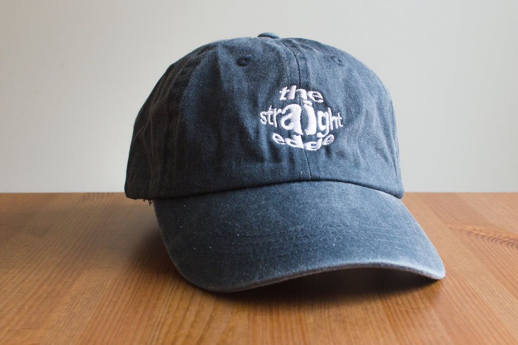 Straight Edge drug free pigment dyed strapback dad hat in navy blue by STRAIGHTEDGEWORLDWIDE
