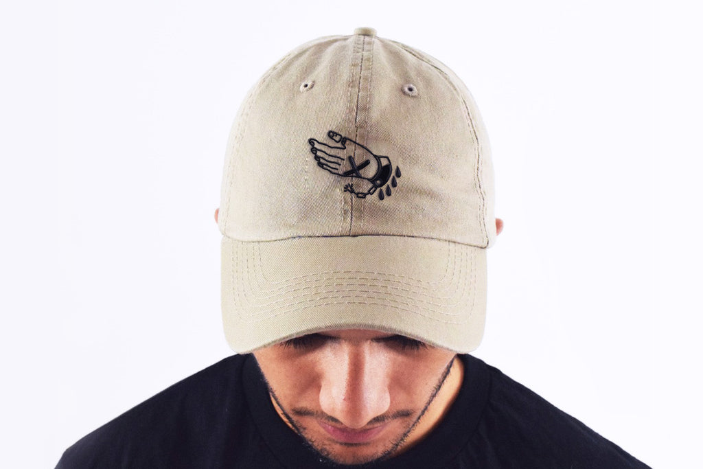 Straight edge strapback dad hat in stone