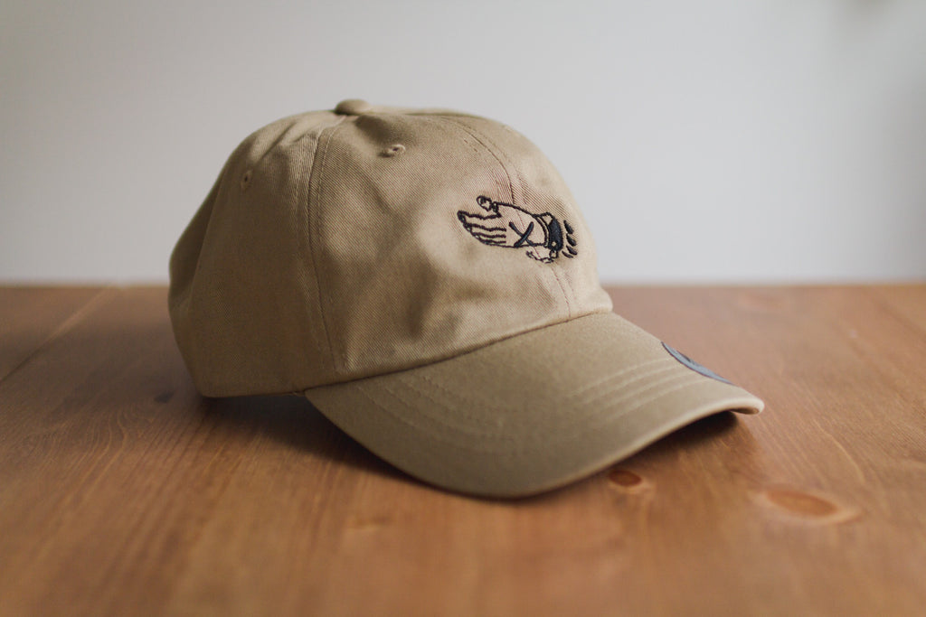 Straight edge strapback dad hat in khaki