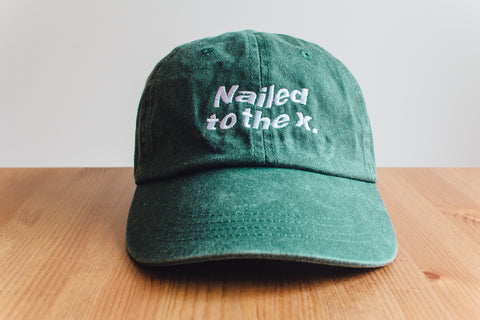 Nailed to the X Straight Edge drug free strapback dad hat in forest green by STRAIGHTEDGEWORLDWIDE