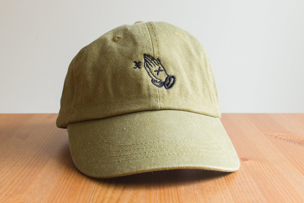 19f49f1bd410f XIIICurse Straight Edge Praying Hands embroidered strapback dad hat in  khaki brown by STRAIGHTEDGEWORLDWIDE