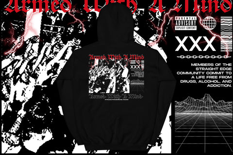 Armed With A Mind Straight Edge Hoodie in Black by STRAIGHTEDGEWORLDWIDE