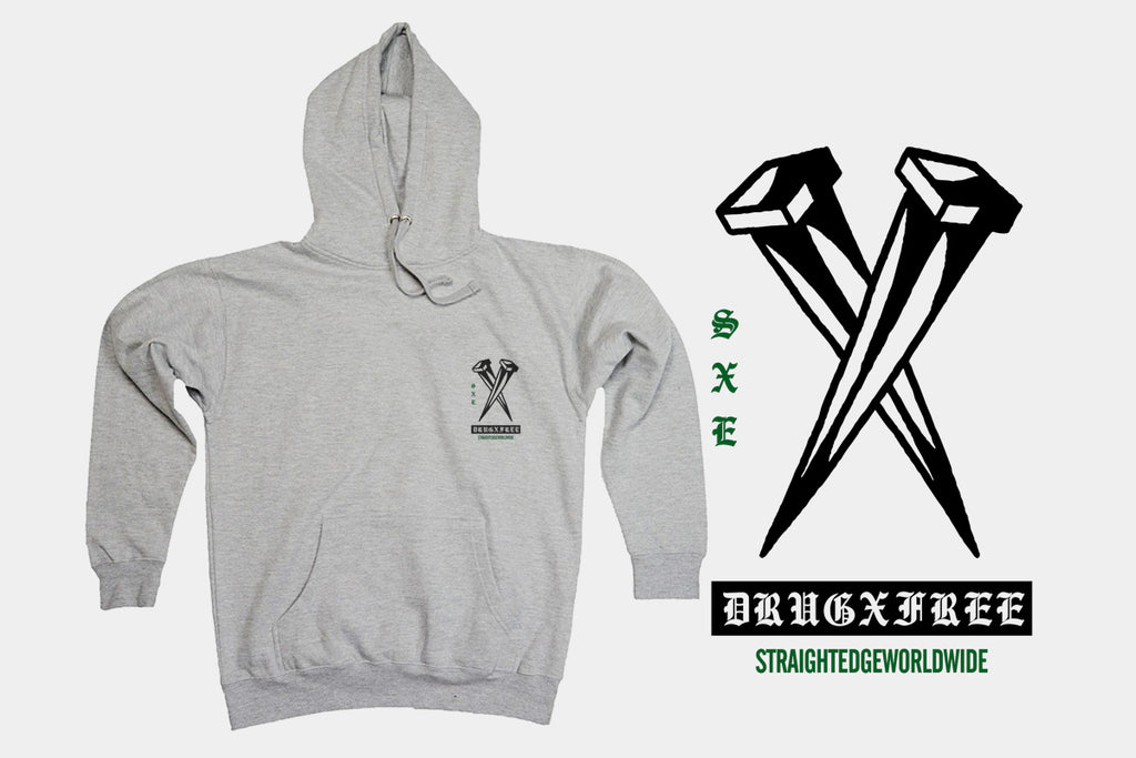 Rose in Hand straight edge hoodie in gray by STRAIGHTEDGEWORLDWIDE