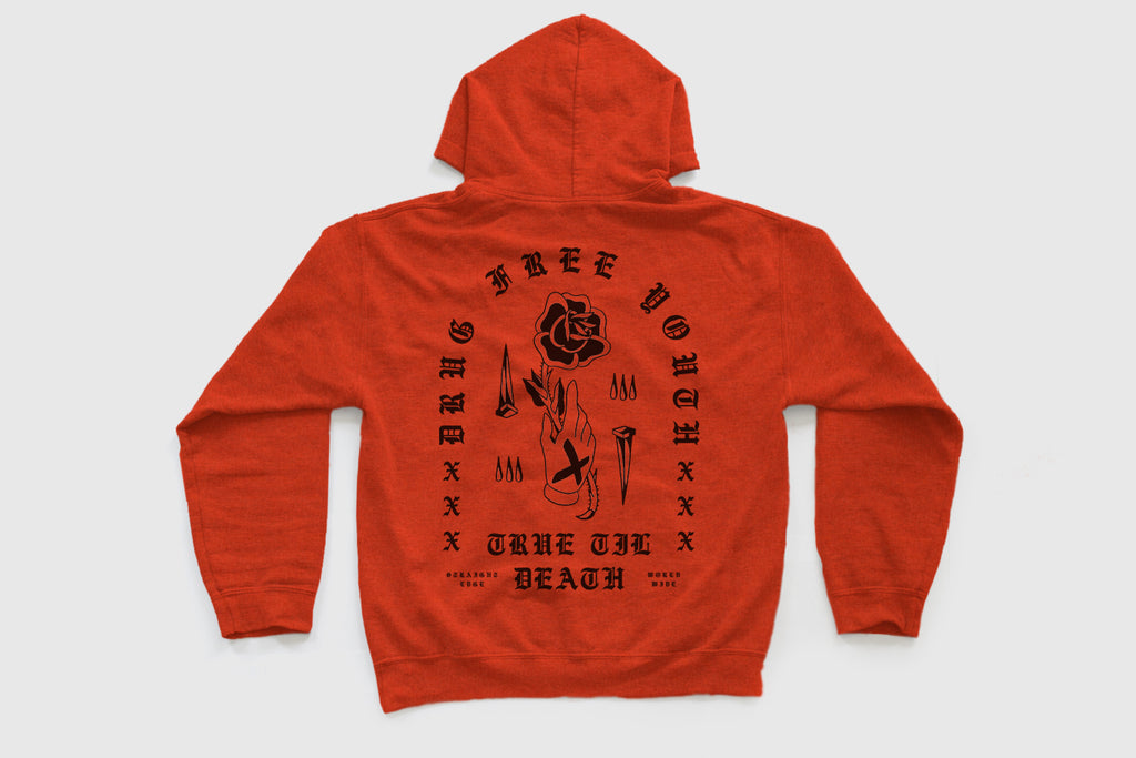 Rose In Hand Hoodie in Orange