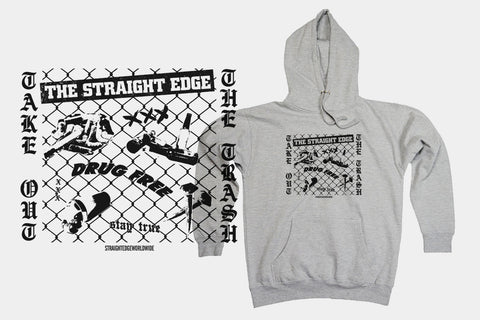 Take Out The Trash Drug Free Straight Edge Hoodie Sweatshirt in gray by STRAIGHTEDGEWORLDWIDE